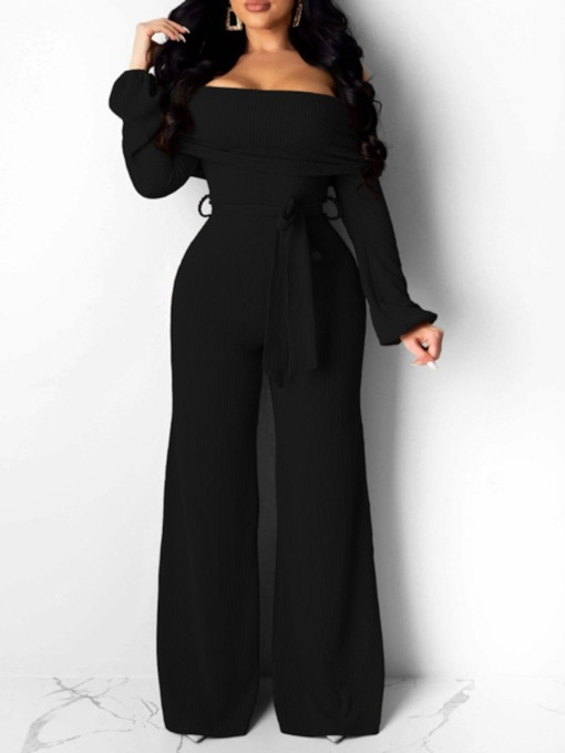 Full Length Plain Lace-Up Sexy Slim Women's Jumpsuit