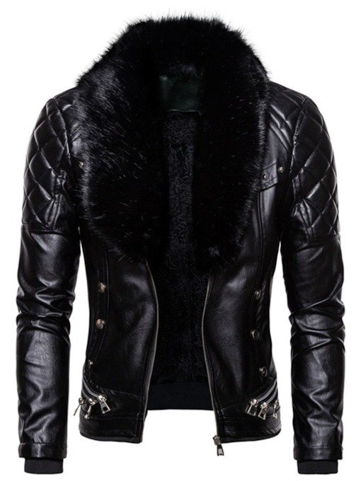 Casual Stand Collar Plain Zipper Men's Jacket