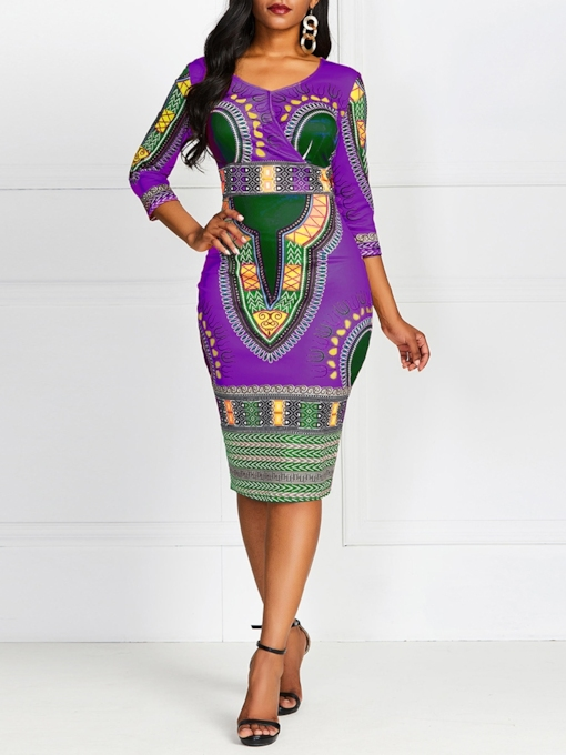 V-Neck Print Mid-Calf Three-Quarter Sleeve Bodycon Women's Dress