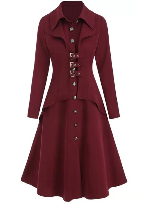 A Line Button Single-Breasted Lapel Women's Overcoat