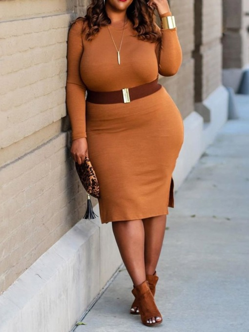 Plus Size Round Neck Knee-Length Long Sleeve Bodycon Women's Dress