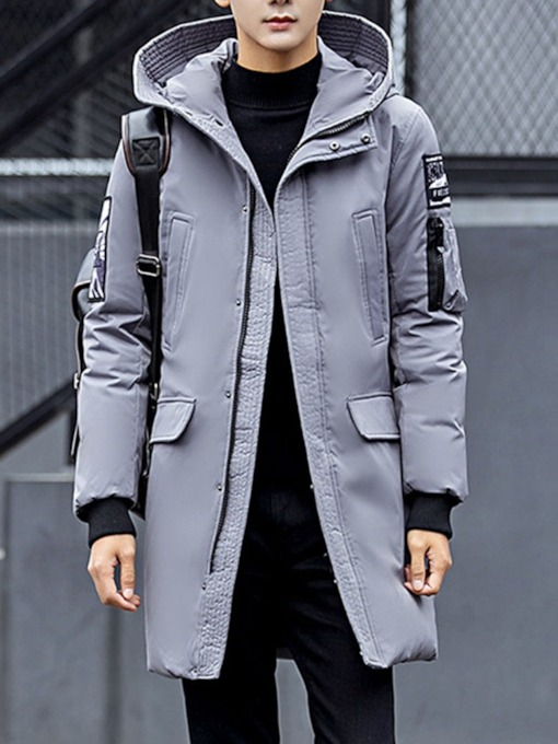 Hooded Color Block Appliques Korean Men's Down Jacket