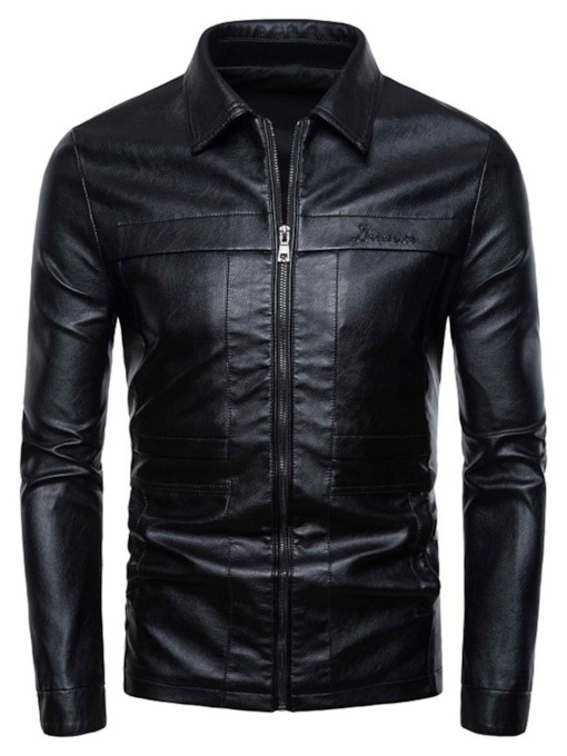 Zipper Plain Lapel Men's Jacket