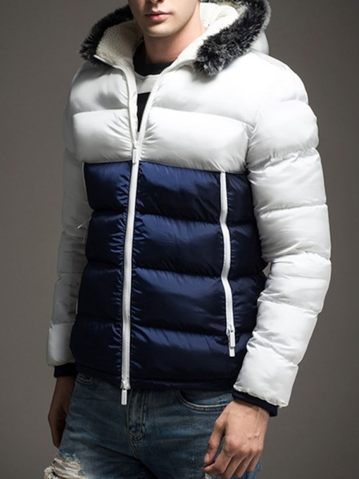 Colorful Standard Zipper Hooded Casual Men's Down Jacket