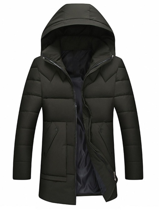 Hooded Plain Zipper Korean Men's Down Jacket