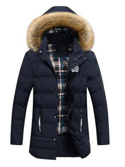 Hooded Color Block Zipper Casual Men's Down Jacket