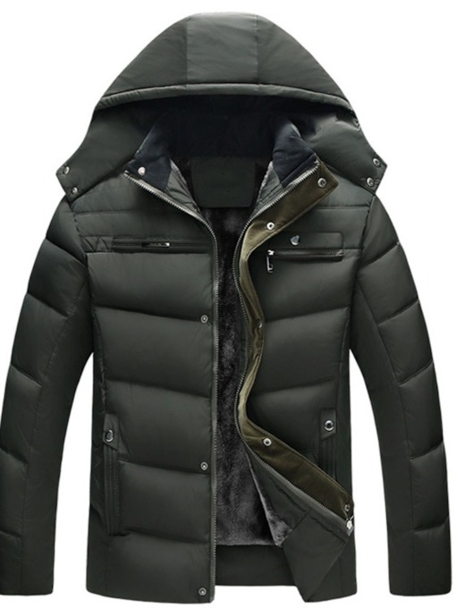 Standard Patchwork Plain Hooded Casual Men's Down Jacket