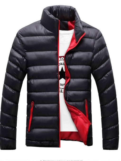 Patchwork Standard Collar Plain Zipper Men's Down Jacket