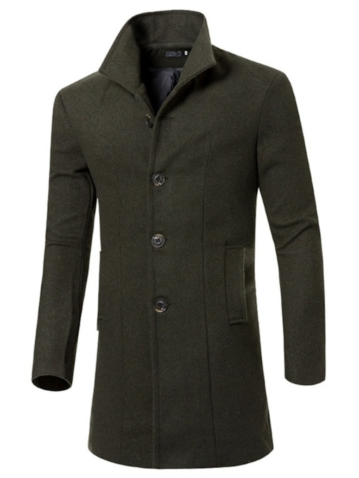 Lapel Plain Slim Men's Coat