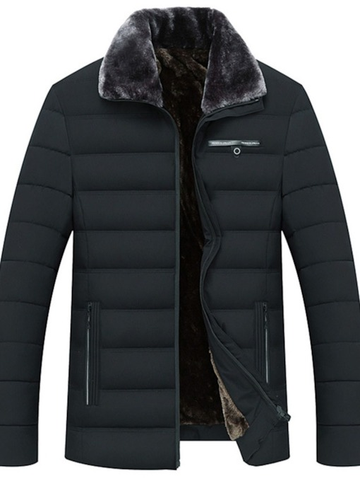 Plain Lapel Standard Zipper Men's Down Jacket