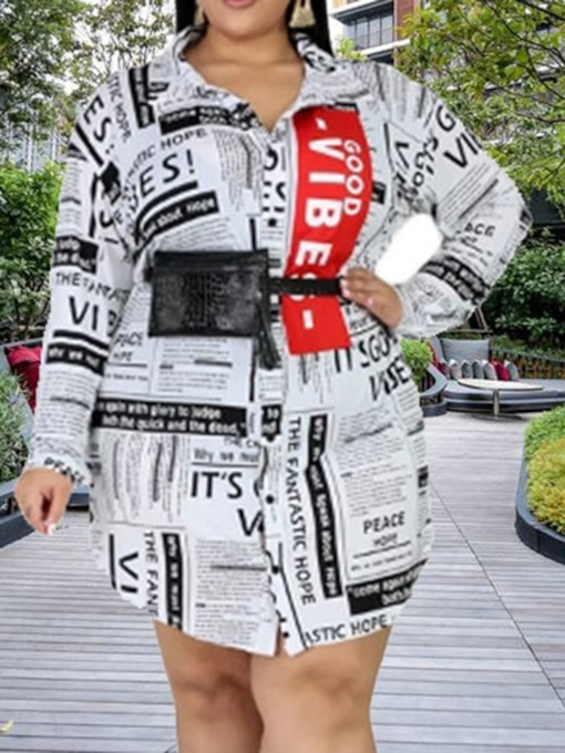 Plus Size Long Sleeve Print Above Knee Lapel Fashion Women's Dress