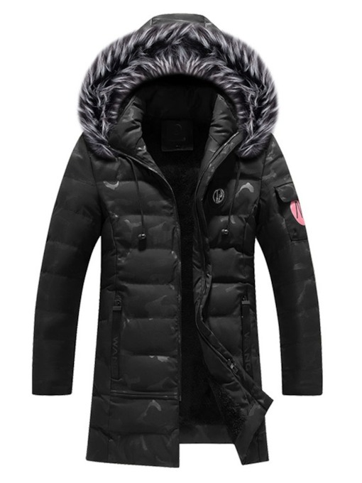 Color Block Hooded Zipper European Men's Down Jacket