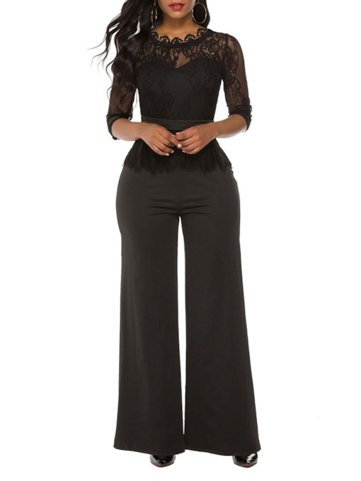 Full Length Casual Plain Patchwork Slim Women's Jumpsuit