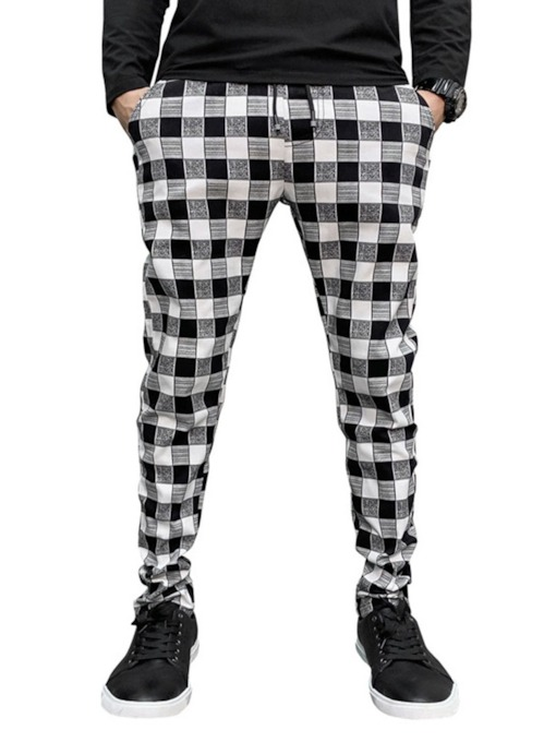 Pocket Pencil Pants Plaid Men's Casual Pants