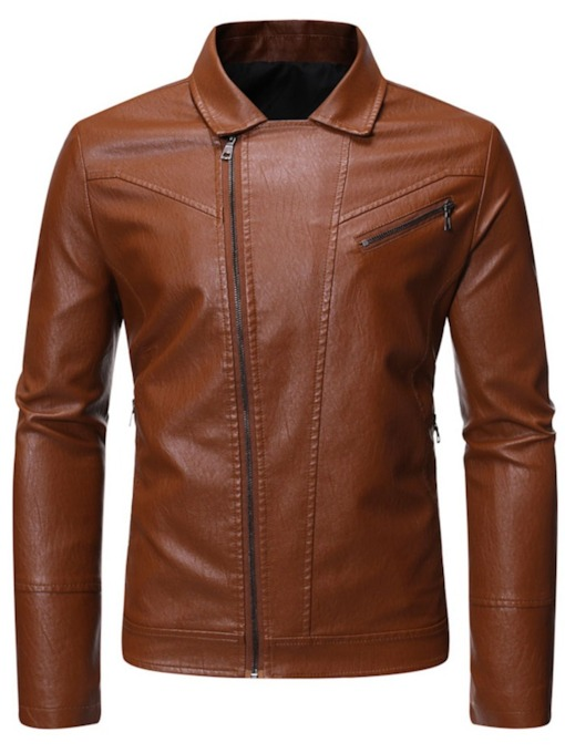 Lapel Zipper Plain Men's Jacket