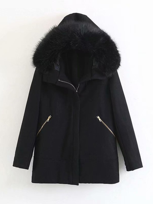 Zipper Straight Patchwork Mid-Length Women's Overcoat
