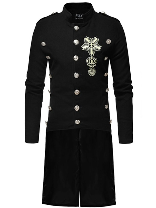 Long Button Stand Collar Men's Coat