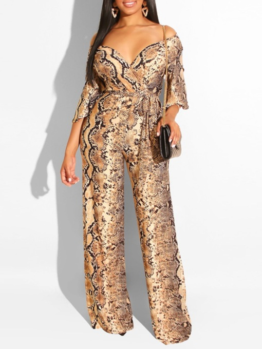 Casual Full Length Print High Waist Women's Jumpsuit