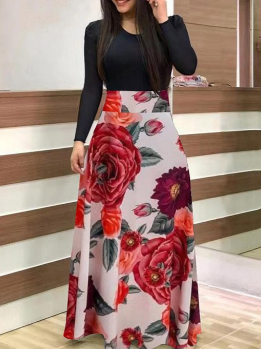 Floor-Length Round Neck Long Sleeve Print Fall Women's Dress