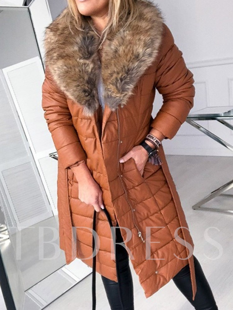 Patchwork Straight Thick Zipper Long Women's Cotton Padded Jacket