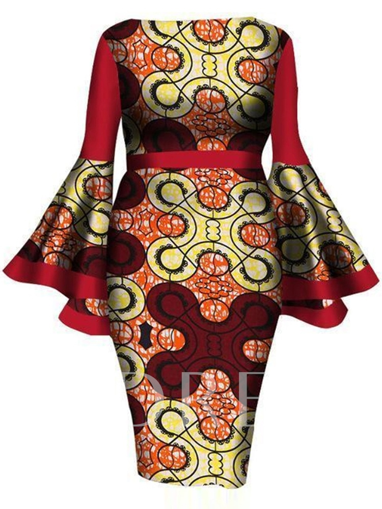 Plus Size Knee-Length Long Sleeve Round Neck Print Geometric Women's Dress