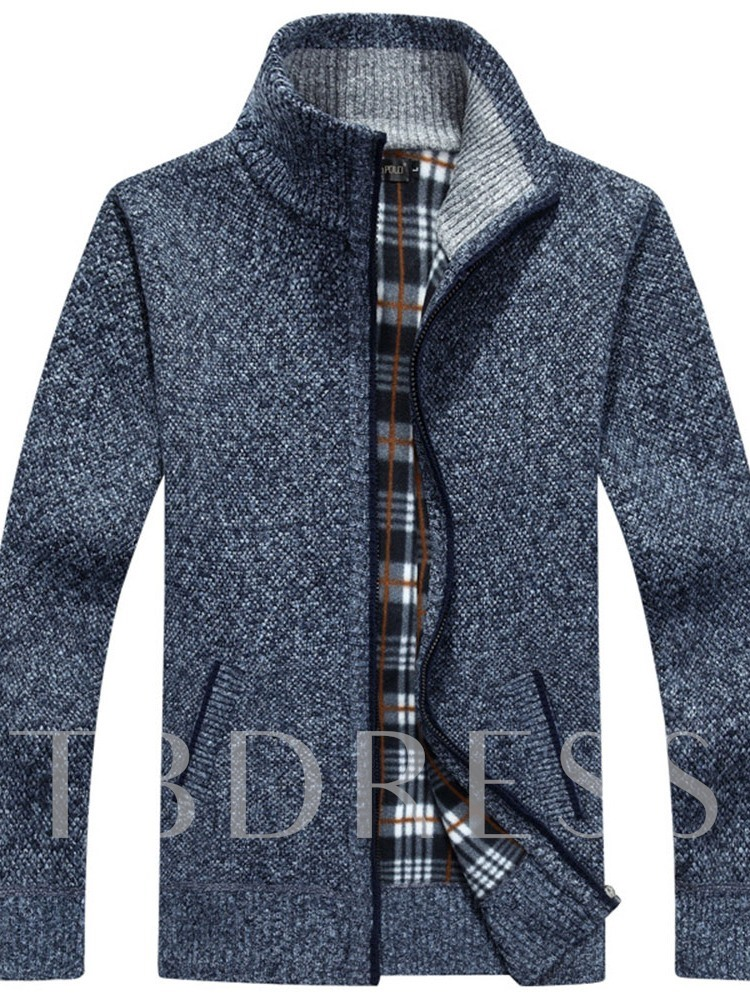 Stand Collar Plain Casual Men's Sweater