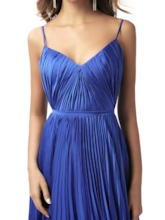 Spaghetti Straps Pleats Dark Royal Blue Prom Dress 2020