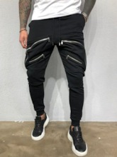 Plain Baggy Pants Zipper Lace-Up Men's Casual Pants