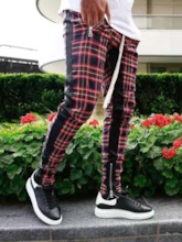 Pencil Pants Zipper Plaid Men's Casual Pants