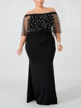 Plus Size Mesh Half Sleeve Off Shoulder Floor-Length High Waist Women's Dress