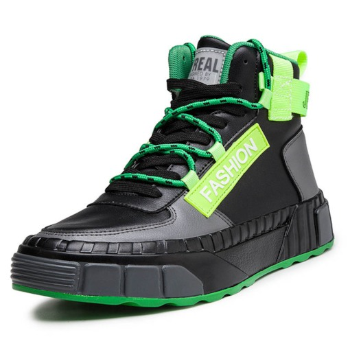 Color Block High Top Lace-Up Round Toe Men's Skate Shoes