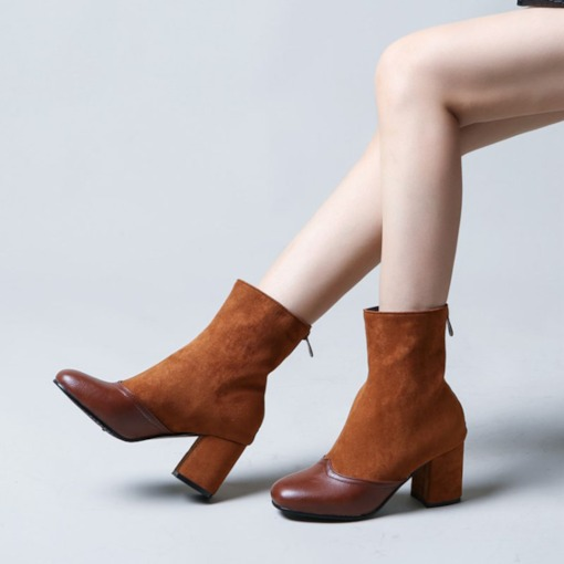 Chunky Heel Round Toe Patchwork Back Zip Booties