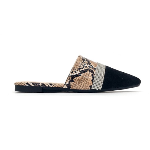 Serpentine Block Heel Closed Toe Slip-On Mules