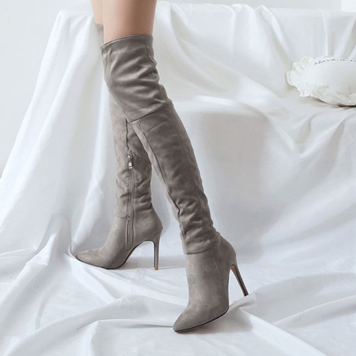 Plain Stiletto Heel Side Zipper Pointed Toe Knee High Boots