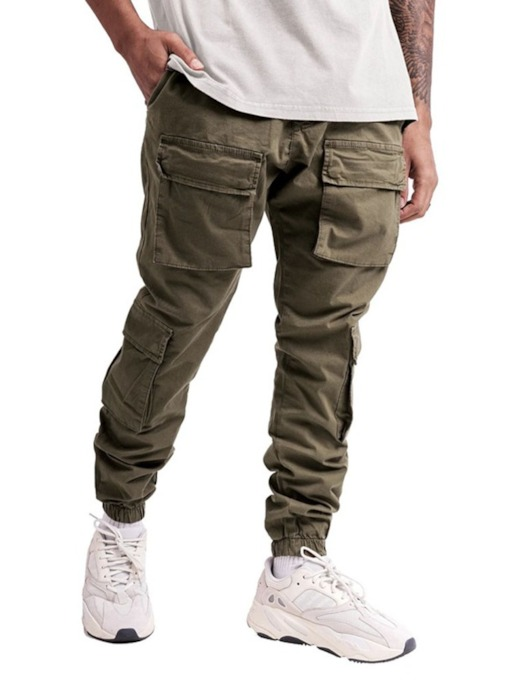 Pocket Plain Men's Casual Pants