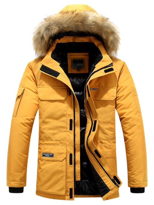 Mid-Length Block Patchwork Hooded European Men's Down Jacket