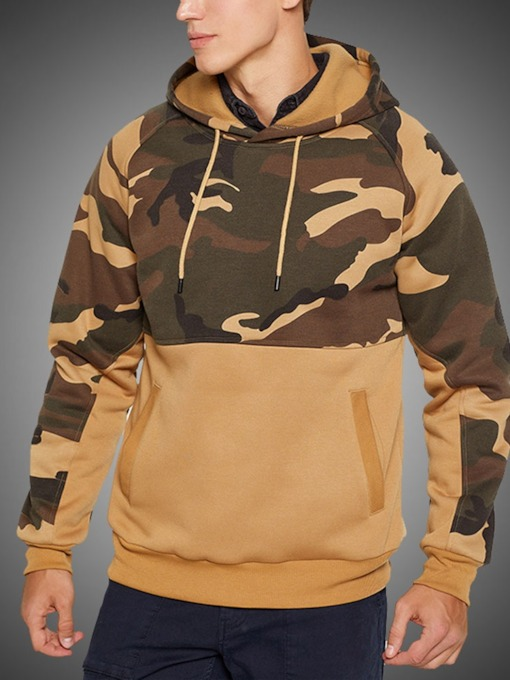 Color Block Pocket Pullover Men's Hoodies