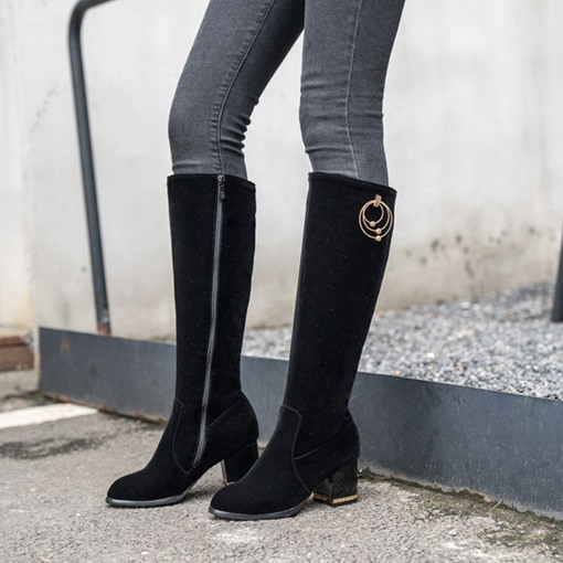 Plain Chunky Heel Side Zipper Round Toe Knee High Boots