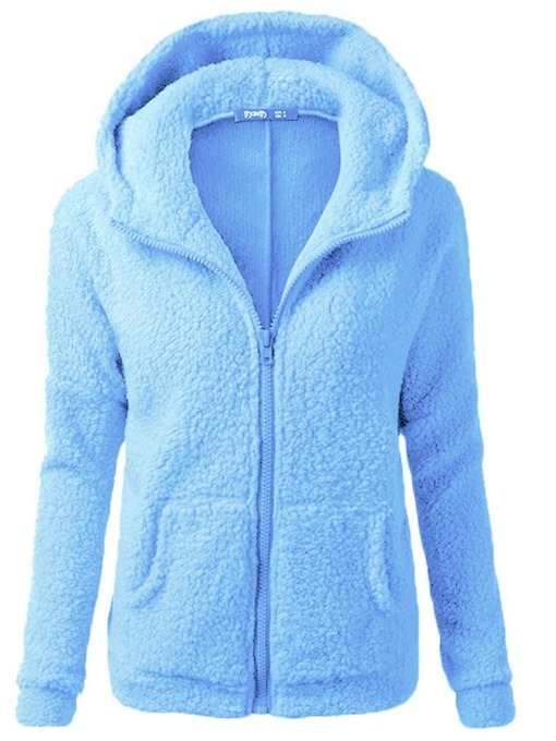 Plain Regular Hooded Standard Zipper Women's Faux Fur Overcoat