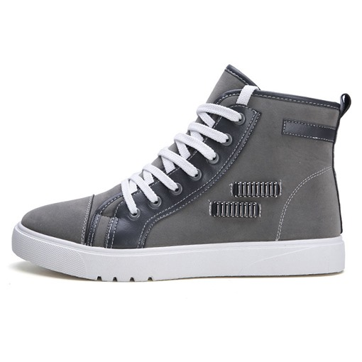 Lace-Up Patchwork High-Cut Upper Round Toe Men's Skate Shoes