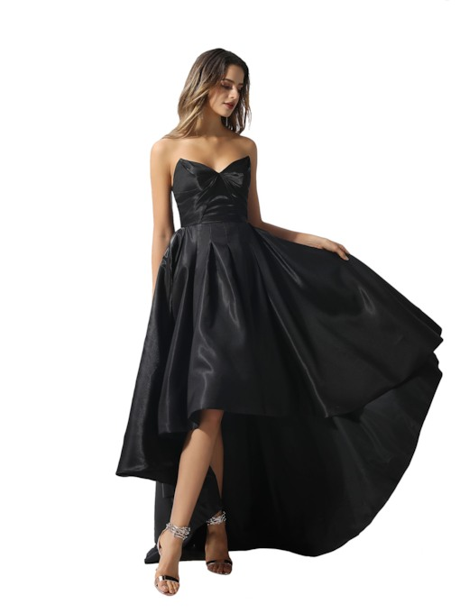 Asymmetry A-Line Sweetheart Black Prom Dress 2020