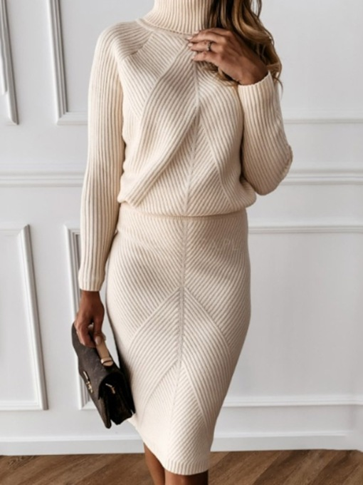 Turtleneck Knee-Length Long Sleeve Plain Women's Dress