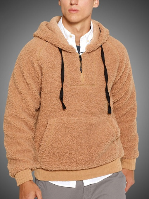 Thick Pullover Pocket Plain Casual Men's Hoodies