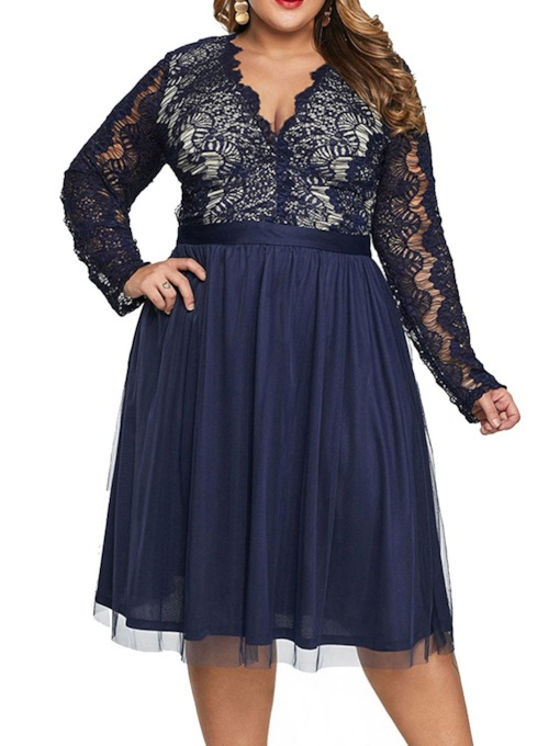 Plus Size Mid-Calf Hollow Long Sleeve V-Neck A-Line Women's Dress