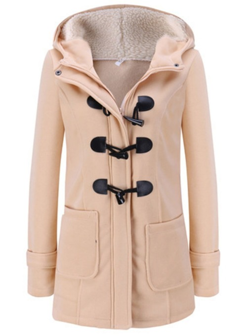 Slim Regular Horn Button Hooded Women's Overcoat