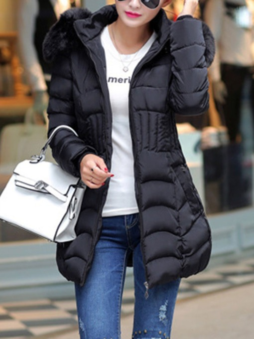Plus Size Zipper Thick Slim Mid-Length Loose Women's Cotton Padded Jacket