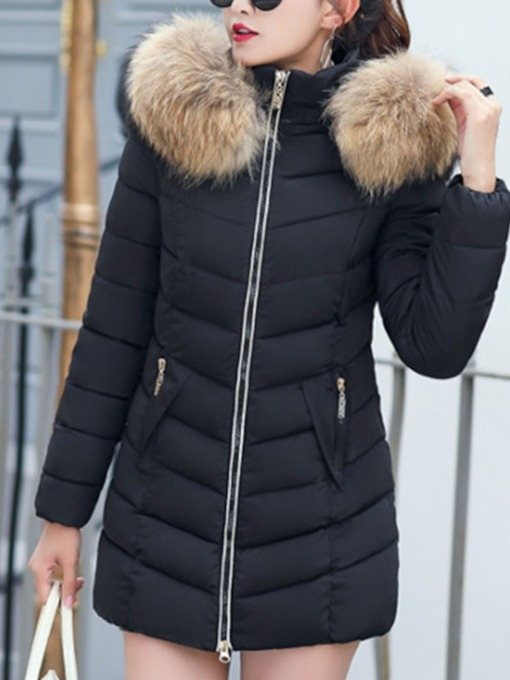 Slim Thick Zipper Mid-Length Plain Women's Cotton Padded Jacket