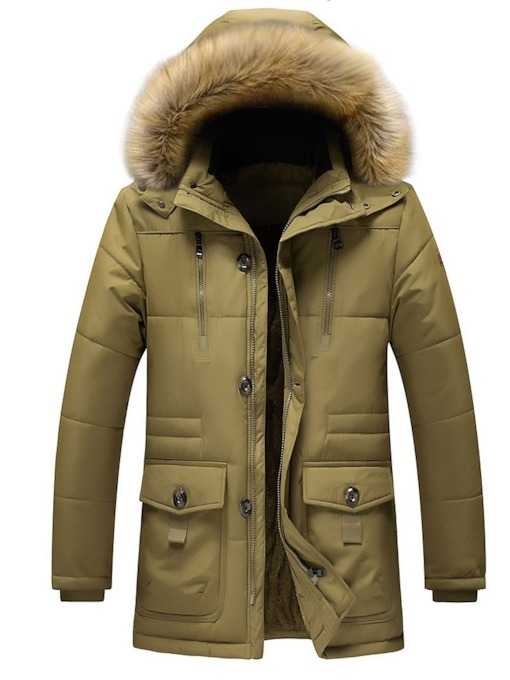 Patchwork Hooded Casual Men's Down Jacket