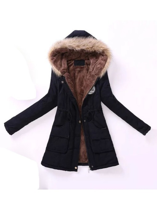 Slim Lace-Up Thick Mid-Length Women's Cotton Padded Jacket