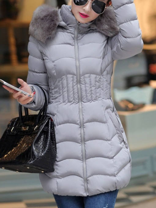Plus Size Zipper Thick Slim Mid-Length Women's Cotton Padded Jacket
